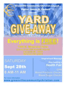 Yard Give-Away @ Greenville Community Christian Church | Racine | Wisconsin | United States